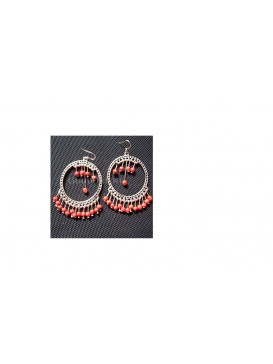 Tibetan Silver Coral Beads Earring