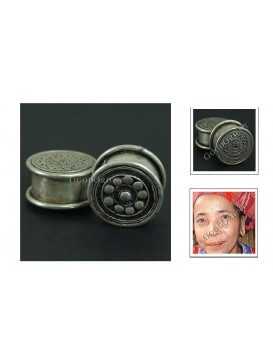 Miao Silver Earring---Floral Drum