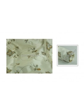 Embroidered Butterfly Thai Silk Fabric---Beige