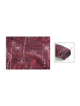 Embroidered Thai Silk Fabric---Dark Red