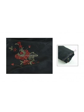 Embroidered Thai Silk Fabric---Black