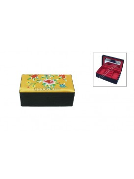 Embroidered Floral Brocade Cosmetic Case---Bright Yellow