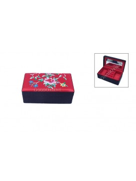 Embroidered Floral Brocade Cosmetic Case---Red