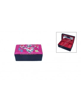 Embroidered Floral Brocade Cosmetic Case---Kelly