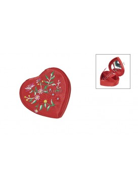 Embroidered Floral Brocade Cosmetic Case---Heart