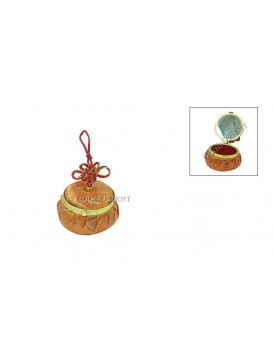 Round Brocade Cosmetic Case---Pumpkin