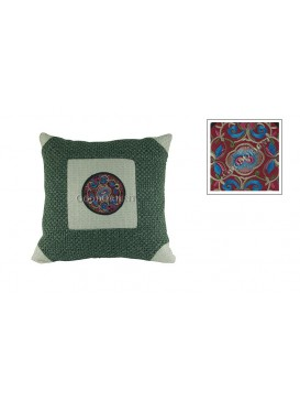 Embroidered Flower Linen Carpet Cushion Cover