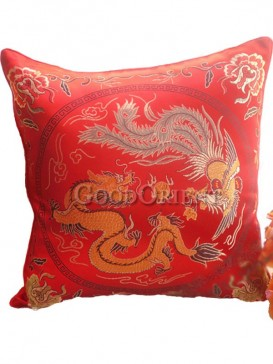 Dragon and Phoenix Cushion Covers Set---Red