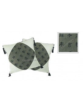 Chinese Calligraphy Linen Cushion Covers Set---Gray Calligraphy