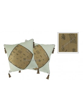 Chinese Calligraphy Linen Cushion Covers Set---Beige