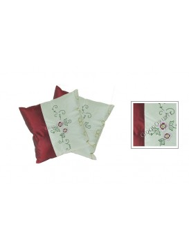 Embroidered Peony Cushion Covers Set---White and Red
