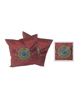 Embroidered Peony Cushion Covers Set---Dark Red
