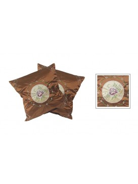 Embroidered Peony Cushion Covers Set---Brown
