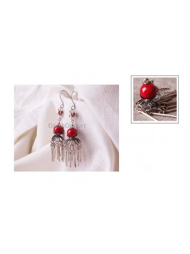 Imitated Tibetan Earring---Red Bead
