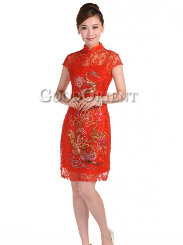 Chinese red dragon&phoenix women dress