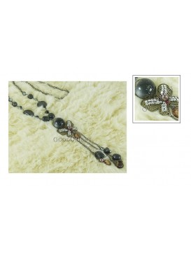 Imitated Tibetan Necklace---Black Butterfly
