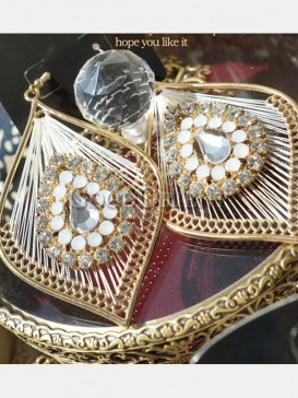 Baroque style feather earrings