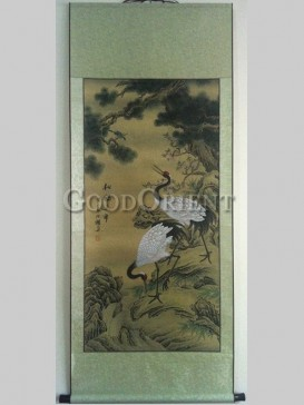 Classical Hand Water-color Painting Scroll-Longevity Crane