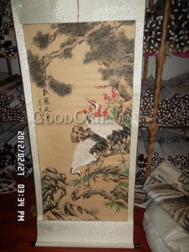 Traditional Chinese Painting Scroll-Longevity Crane