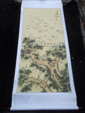 Oriental Hand Water-color Painting Scroll-Red Crowned Crane