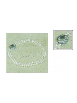 Shell Flower & White Freshwater Pearl Necklace