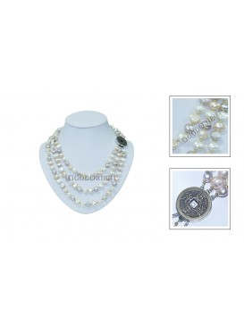 Elegant Three-row Freshwater Pearl Necklace