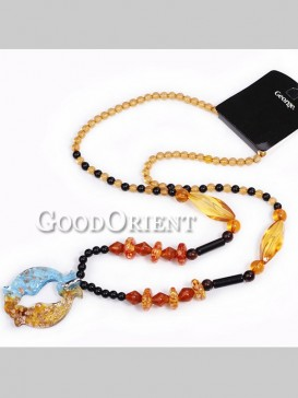 Fashionable Double Fish Bead Necklace