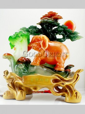 Exquisite Jade Cabbage& Elephant Decoration