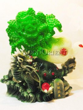 Exquisite Jade Cabbage & Dragon Turtle Decoration