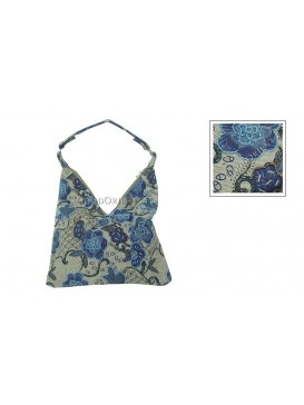 France Rose Beaded Linen Hand Bag---Blue