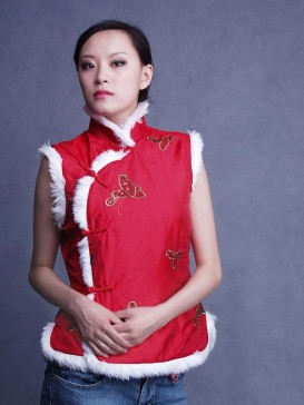 Red Butterfly Women Wadded Vest