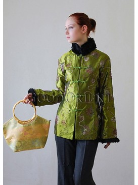 Green Cornflower Women Wadded Jacket