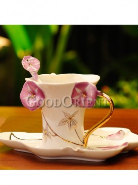 Charming enamel porcelain coffee cup-Trumpet flower