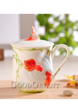 Double fish enamel porcelain coffee cup