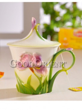 Delicate flower enamel porcelain coffee cup