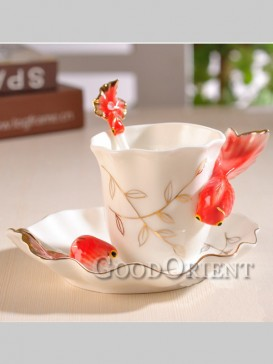 Lively double fish coffee mug