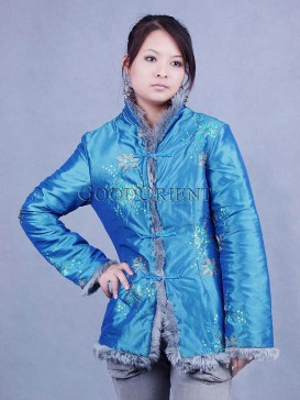 Sky Blue Thai Silk Wadded Jacket