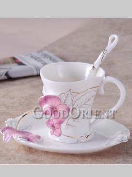 Exquisite hand-painted flower coffee cup