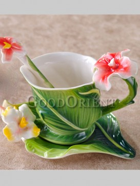 Fresh lotus enamel porcelain coffee cup