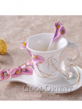 Charming enamel porcelain coffee cup-Calla Lily