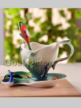 Fantastic peacock enamel porcelain coffee cup