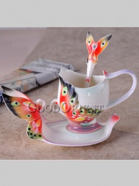 Lively butterfly enamel porcelain coffee cup