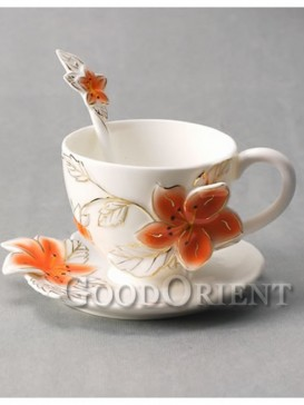 Beautiful flower enamel porcelain coffee cup