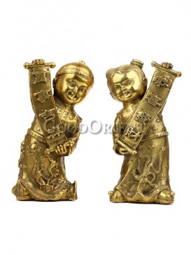 Exquisite Brass Statue series-Golden Boy&Girl