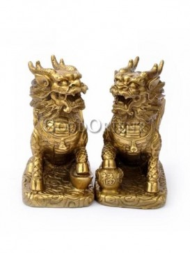 Exquisite Brass Double Kylin Statue