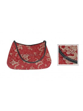 Modern Leather Tote Brocade Hand Bag---Red Dragon