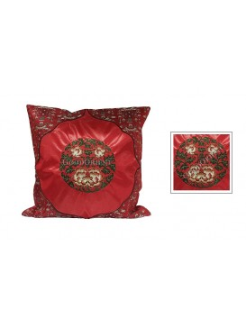 Riches and Honor Embroidered Peony Cushion Cover---Red