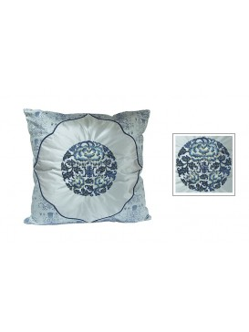Riches and Honor Embroidered Peony Cushion Cover---Blue