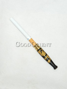 Golden Dragon Wood Cigarette Holder