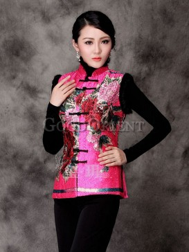 Chinese Hand-Painted Floral Vest-Rose Red